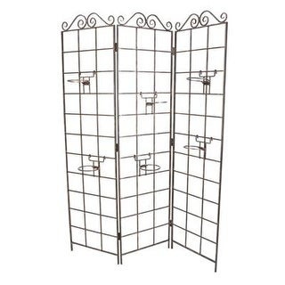 Panacea Products Garden Screen With 6 Pot Holders, Brushed Bronze