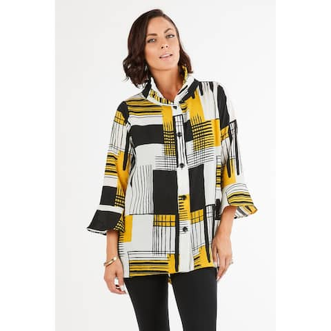 Women's Yellow/Multicolored Button-Down 3/4 Sleeves Jacket Cardigan