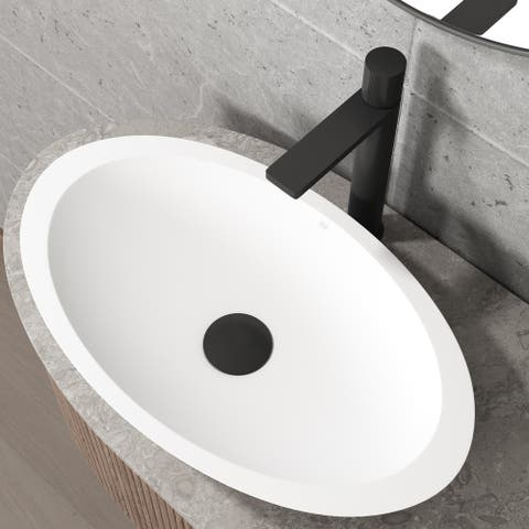 VIGO Matte Black Vessel Bathroom Sink Pop-up Drain and Mounting Ring