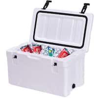 Costway Outdoor Insulated Fishing Hunting Cooler Ice Chest 30 Quart Sports Heavy Duty - White