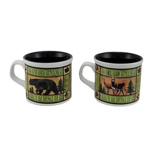 American Expedition 2 Piece Wildlife Ceramic Soup Mug Set