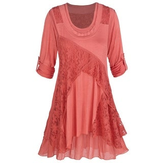 Women's Tunic Top Set - Lace Trimmed Top over a Simple Tank