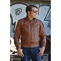 Mens Bomber Leather Fashion Jacket Brown FJ3 - Thumbnail 6