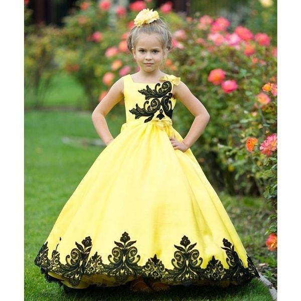 fc610a277b1a1 Shop Girls Yellow Black Satin Lace Applique Sunset Flower Girl Dress ...