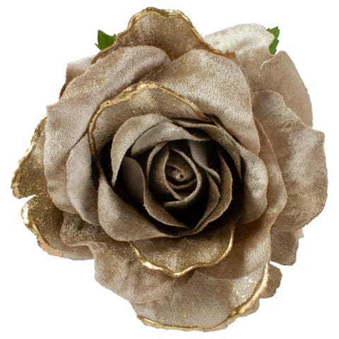 Beige and Gold Artificial Rose Clip-On Christmas Ornament