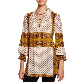 Free People Womens Changing Times Tunic Top Printed V-Neck