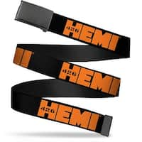 "Blank Black 1.25"" Buckle Hemi 426 Logo Repeat Black Orange Webbing Web Belt 1.25"" Wide - M"