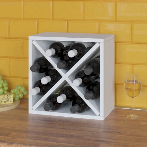 12-Bottle Wine Rack Cube Storage, White (Tool-Free Assembly and Uniquely Crafted from Sustainable Non Toxic zBoard Paperboard)