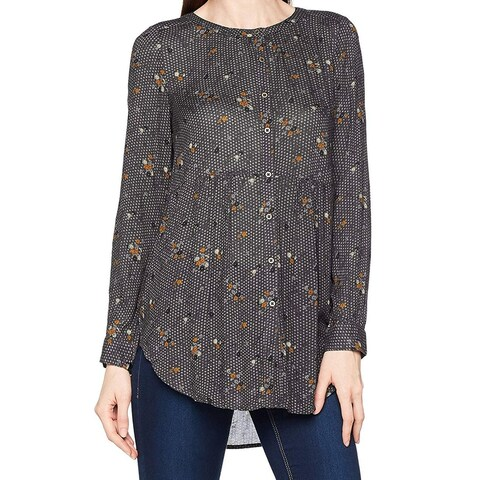 Fat Face Gray Womens Size 12 Printed Hi-Lo Hem Button Down Shirt