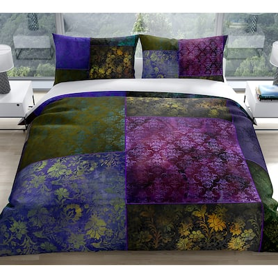 ECLECTIC BOHEMIAN PATCHWORK PURPLE GREEN AND GOLD Duvet Cover By Kavka Designs