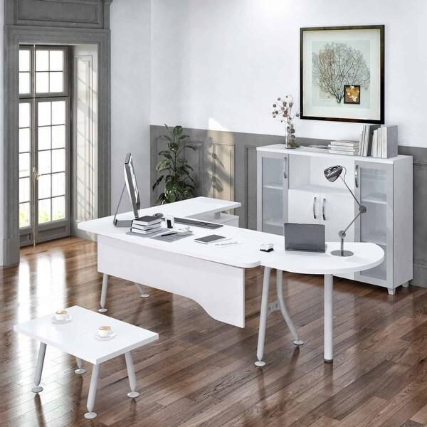 "Modern Clover 6 Piece L Shaped Desk Office Suite Furniture Set 71"". Opens flyout."