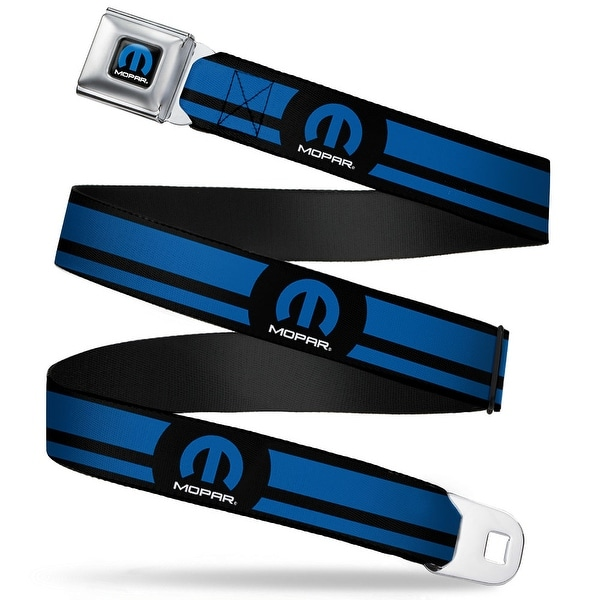 Mopar Logo Full Color Black Blue White Mopar Logo Stripe Black Blue Webbing Seatbelt Belt