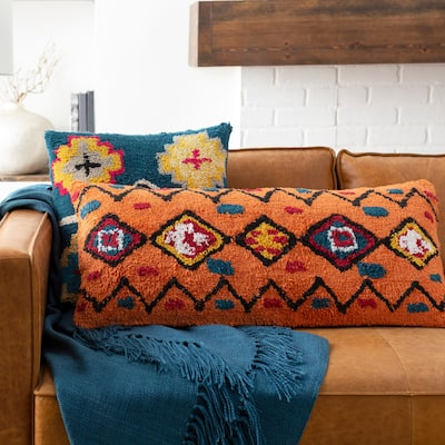 Slade Orange Boho Lumbar Throw Pillow