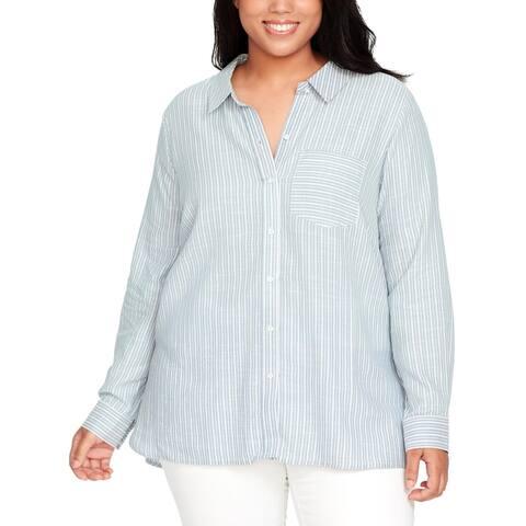 William Rast Womens Plus Button-Down Top Cotton Striped