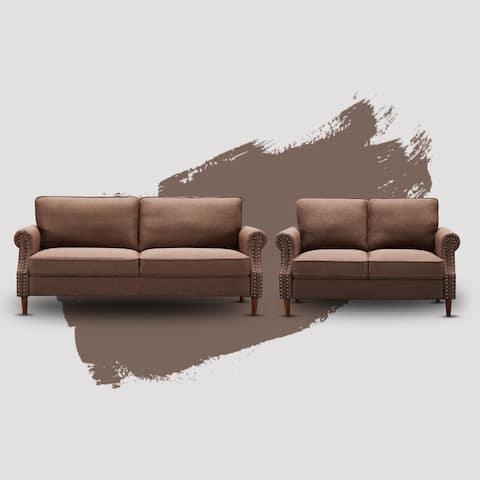 Amirah 2 Pieces Linen Living Room Sofa Set - 33.9'' H x 30.7'' W x 76.4'' D