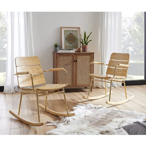 Art Leon Modern Metal Frame Rocking Chair with Seat Cushion