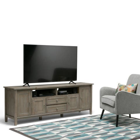 WYNDENHALL Norfolk Solid Wood 72 inch Wide Rustic TV Media Stand For TVs up to 80 inches - 72'' W x 17.5'' D x 26'' H