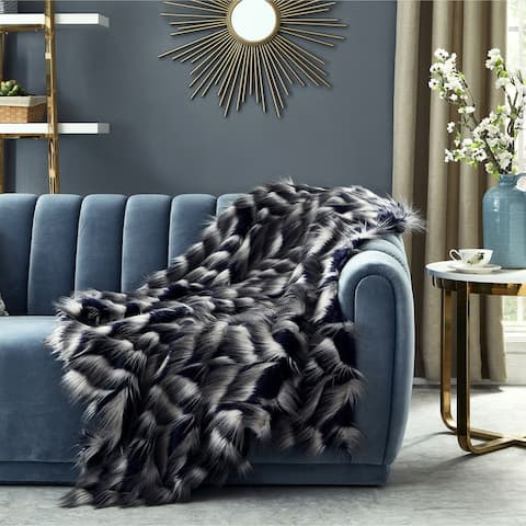 "Biovin Navy 50""x60"" Faux Feather Fur Throw"