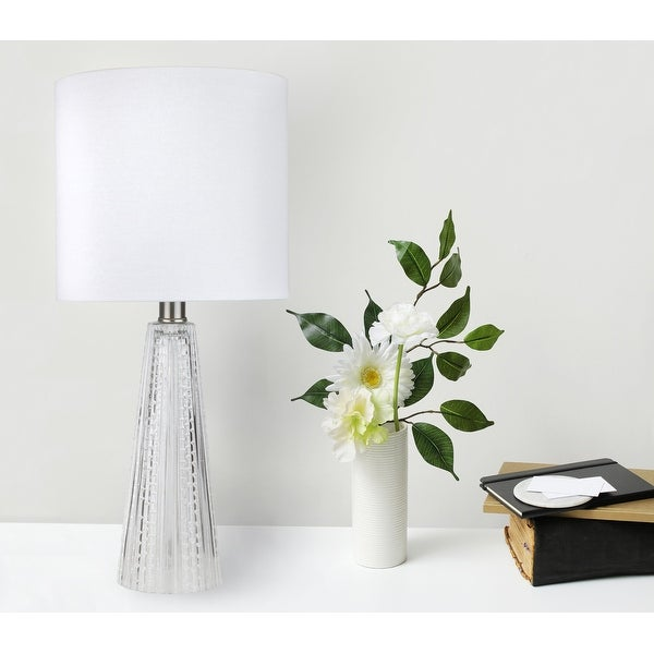 16-in. Glass Lamp w/ Brushed Nickel Accents and Drum Shade. Opens flyout.