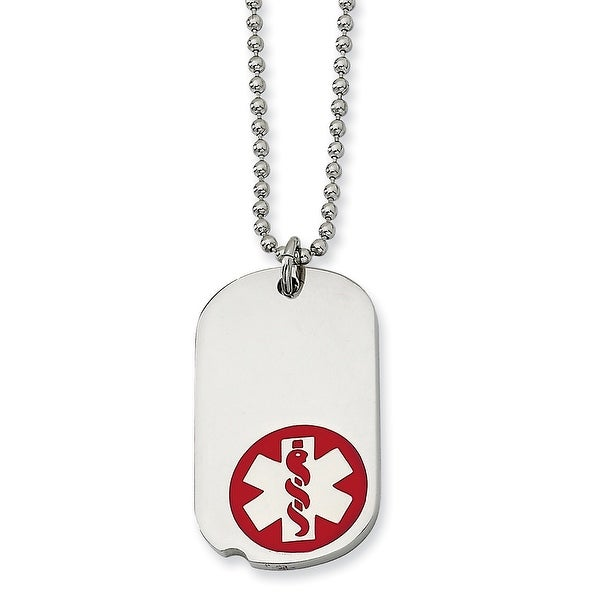 Chisel Stainless Steel Red Enamel Small Dogtag Medical Pendant 22 Inch Necklace (1 mm) - 22 in