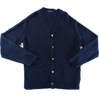 Polo Ralph Lauren NEW Blue Men Size Large L Linen Knit Cardigan Sweater