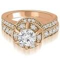 1.80 cttw. 14K Rose Gold Antique Style Halo Round Diamond Bridal Set - Thumbnail 0