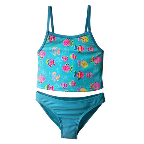 Girls Tankini Set in Multi-Colored Fish Print with Solid Blue Panty