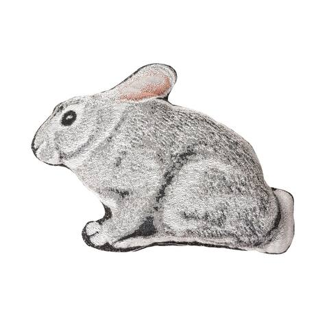 """14.5"""" White and Gray Bunny Rabbit Shaped Cotton Blend Plush Pillow"""