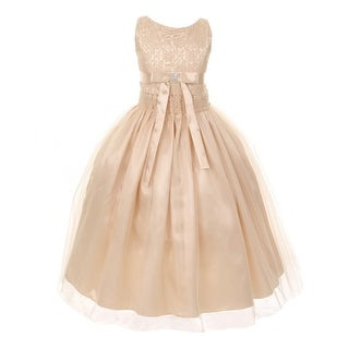 Girls Champagne Lace Satin Tulle Overlay Special Occasion Dress 8-12
