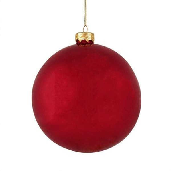 """6ct Pearl Red Xmas Glass Ball Christmas Ornaments 4"""" (100mm)"""
