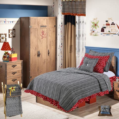 Dot Stripe Black White Red Reversible 8 PC Full Queen Quilt Bed Set