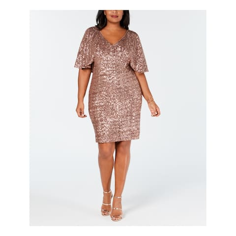 ALEX EVENINGS Womens Gold Sequined Capelet Short Sleeve Scoop Neck Above The Knee Shift Party Dress Plus Size: 18W
