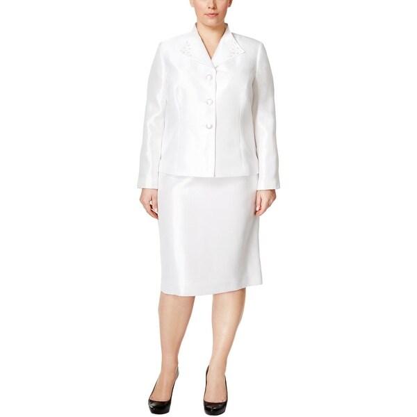 Kasper Womens Plus Skirt Suit Satin 2PC - 14W