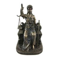Seated Lady Justice Bronzed Statue Justicia Law Scale