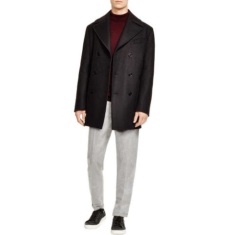 Carven Mens Slim Fit Double Breasted Twill Wool Coat Small IT 46 Black