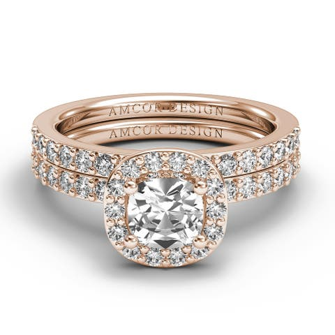 14KT Gold 1.25 CT Halo Diamond Engagement Ring Bridal Set Cushion Cut Wedding Band Amcor Design