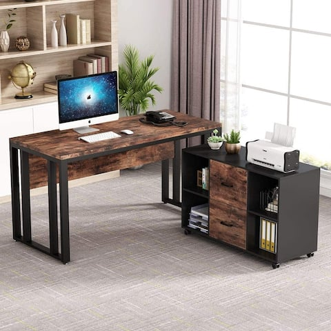 55 inch Executive Office Desk with 2 Drawer Lateral File Cabinet