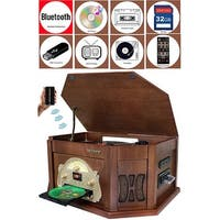 Boytone BT-25MB 7-in-1 Natural Wood Turntable Stereo System, Bluetooth Connection, AM/FM, CD, Cassette, USB, SD Slot.MP3 Player