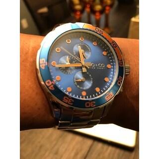 SO&CO New York Men's Yacht Club Quartz Unidirectional Watch with Stainless Steel Bracelet - Silver