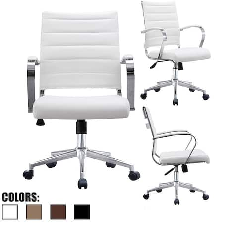 2xhome office chairs mid back ribbed pu leather white conference room tilt work desk manager task - Conference Room Chairs