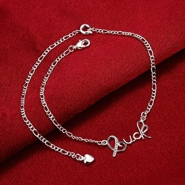 "Vienna Jewelry ""Luck"" Emblem Petite Anklet"