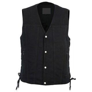Men's Black Single Back Panel Concealed Carry Denim Reinforced Shoulder Support Vest