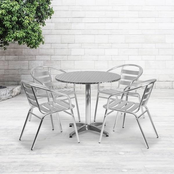 "31.5"" Round Aluminum Indoor-Outdoor Table Set with 4 Slat Back Chairs. Opens flyout."