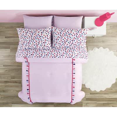 Pink Tassel Fringe and Polka Dots Comforter Set