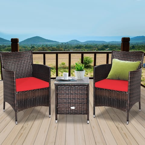 Gymax 3PCS Patio Outdoor Rattan Furniture Set w/ Cushioned Chairs