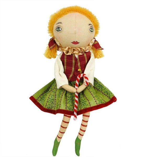 "16.5"" Gathered Traditions ""Pattie"" Elf Girl Decorative Christmas Figure with Dangling Legs"