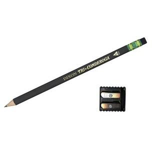 Ticonderoga Tri-Write Non-Toxic Triangular Pencil with Eraser, No 2 Tip, Black, Pack of 12