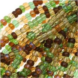 Czech Seed Beads Mix Lot 11/0 Earthtone Brown Green 1/2 Hank