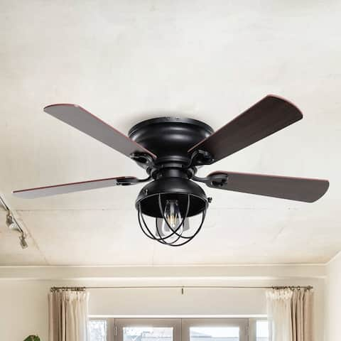 Vintage Ceiling Fan 42 Inch Rustic Ceiling Fan with Remote Control 5 Reversible Blades