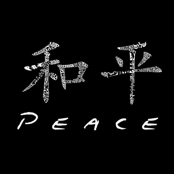 La Pop Art Girls Word Art Long Sleeve Chinese Peace Symbol Red